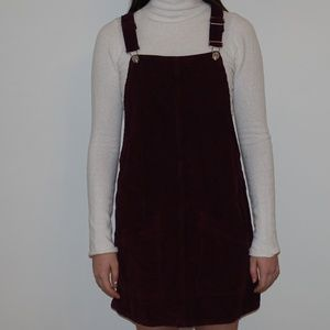 Corduroy Red Overall Dress